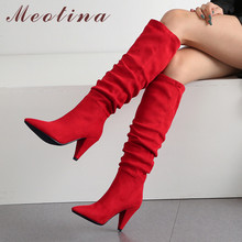 Meotina Winter Knee High Boots Women Pleated Spike Heels Long Boots Pointed Toe Super High Heel Shoes Ladies Fall Red Size 34 43