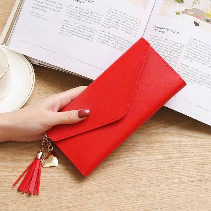 Модные женские кошельки, простые кошельки на молнии, черные, белые, серые, красные, длинный секционный клатч, кошелек из искусственной кожи, сумка для денег - Цвет: BrightRed