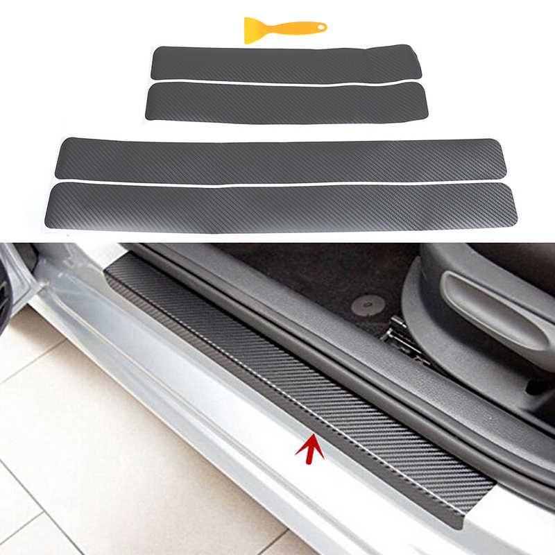 4 חבילה 3D סיבי פחמן דוושות משמרות אנטי kick שריטה דלת Autoparts Kick שומר סף רכב דלת אדן מגן מדבקה