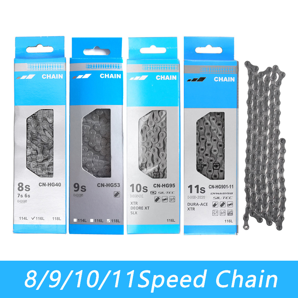 Bike Chain 8/9/10/11 Speed HG40 HG50 HG53 HG93 HG54 HG95 CN-4601 HG601 HG701 HG901 Mountain Road Bicycle Chains 112 116 118 Link
