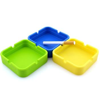 Creative Portable Rubber Silicone Round Ashtray Durable Soft Eco-Friendly Ashtray Ash Tray Holder 9 Colors Home Supplies image