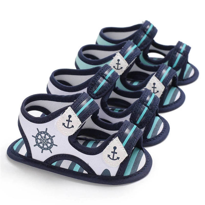 Baby Boy Sandals Shoes Stripe Gingham Sea Print Soft Anti-Slip Sole Toddler Crib Shoes Infant Hot Sale First Walkers Sandals