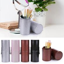 Portable Travel Makeup Brushes Round Pen Holder Cosmetic Case PU Leather Cup Bru