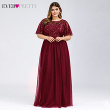 Plus Size Sequined Long Prom Dresses Ever Pretty A-Line O-Neck Ruffles Sleeve Elegant Tulle Party Gowns Vestido De Gala 2019(China)