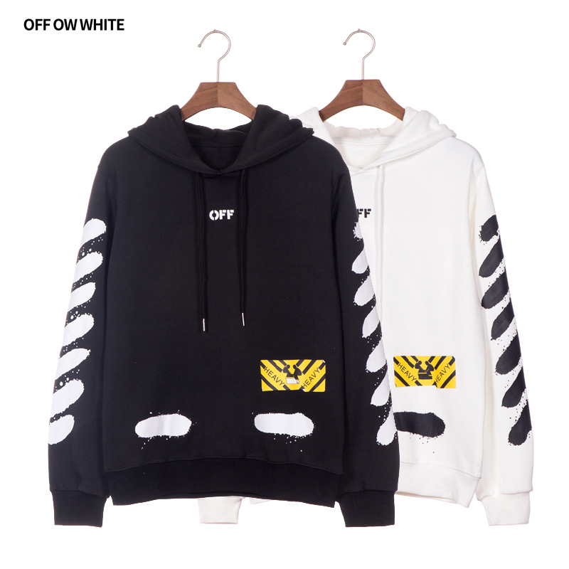 2018 Autumn And Winter Ink Paint Speed Bump Cool Hooded Plus Velvet Hoodie Men And Women Couples Pattern Stickers