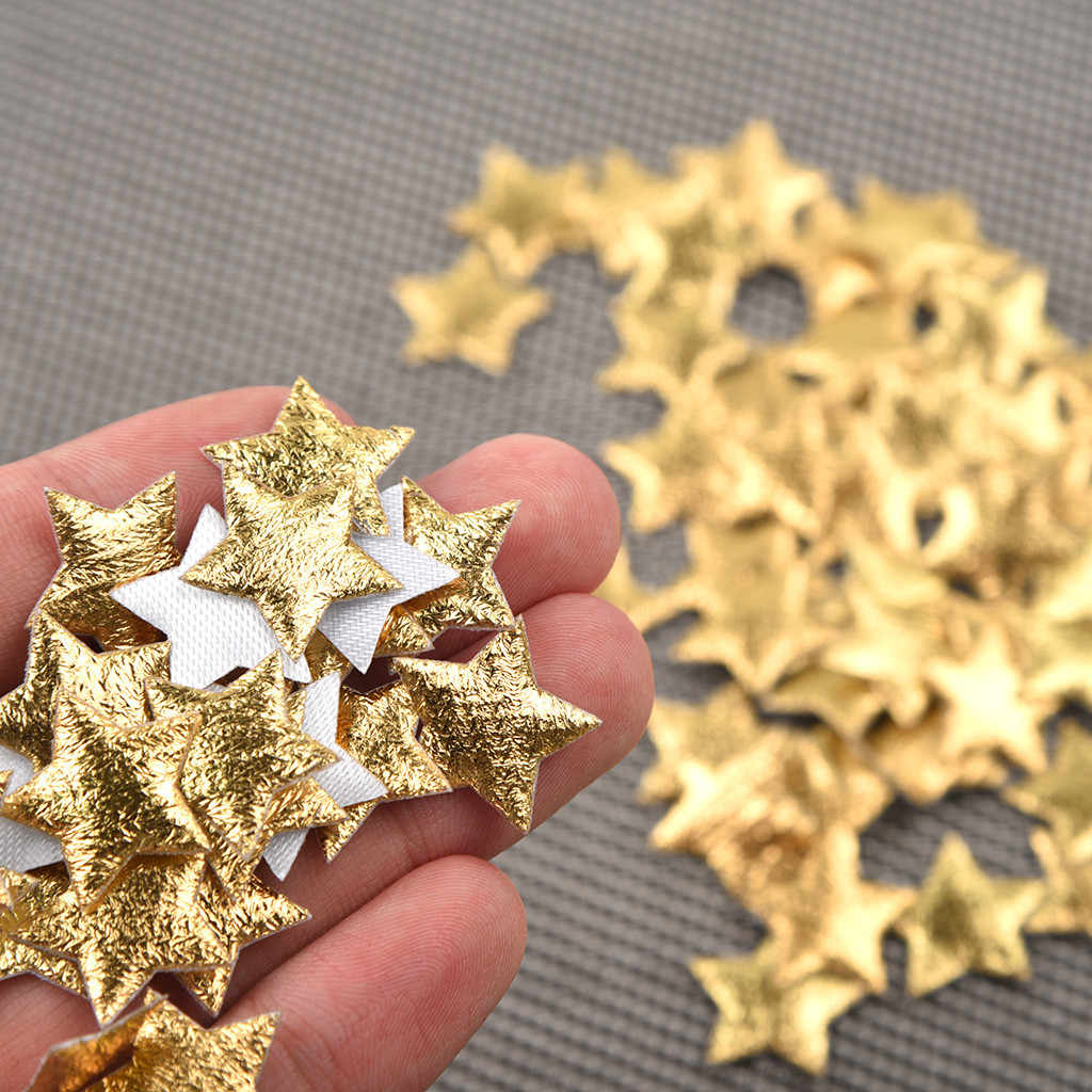 100 шт Золотой Серебряный тканевый Рождественский пятиконечный Звездный конфетти украшение для дома 2 см Рождественский Свадебный Праздничный Декор
