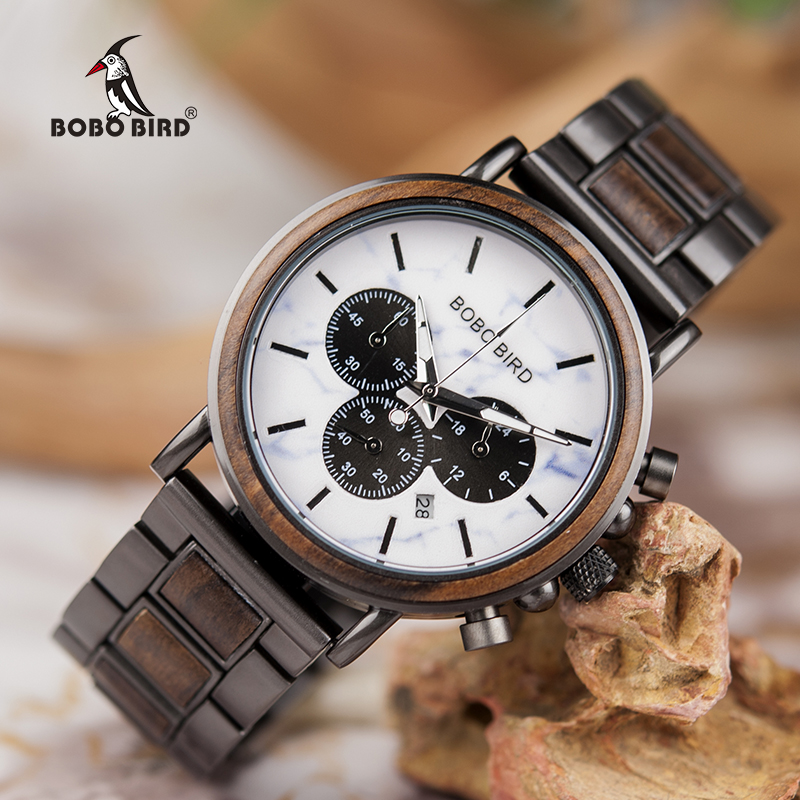 Relogio Masculino BOBO BIRD Wooden Men Watches Top Brand Luxury Stylish Chronograph Military Watch Great Gift For Man OEM