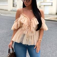 Hot Sexy Deep v neck off shoulder peplum blouse top Women Pleated vintage ruffle mesh blouse shirt Casual sleeveless top embroidered mesh ruffle bardot top