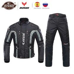 Duhan Motorjas Kits Winddicht Beschermende Kleding Jas + Broek Set Hip Protector Rijden Pak Motorfiets Broek Moto Jas