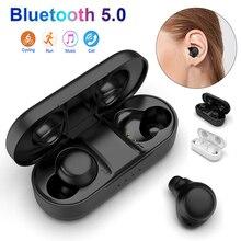A5 TWS 5.0 Bluetooth Earphones Sport Mini In-Ear Headsets IPX4 Waterproof 6D Bass Stereo Earbuds With Large Charging Bin