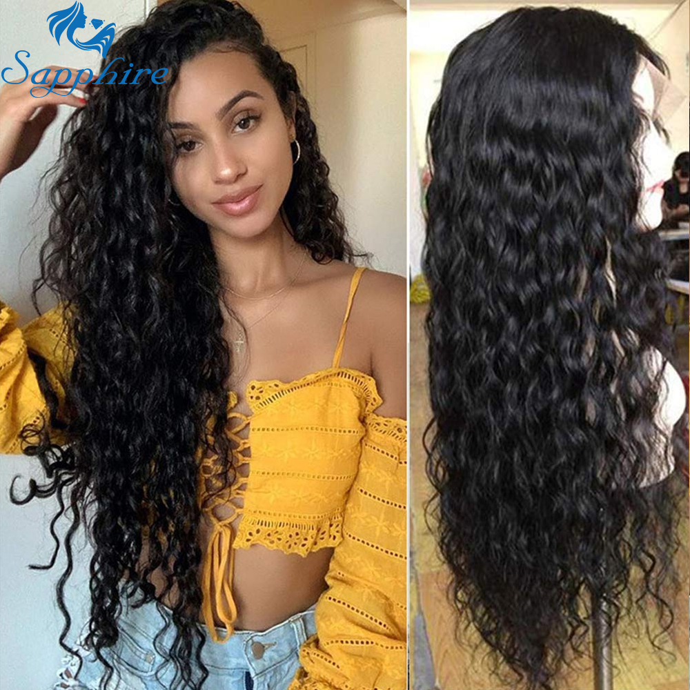Water Curly Wig 13*4 Lace Front Wig Pre Plucked With Baby Hair Brazilian Deep Part 13x4 Lace Front Human Hair Wigs Sapphire Remy