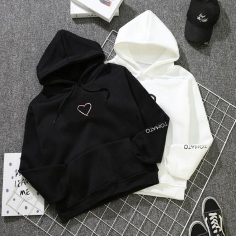 Heart Hoodies Sweatshirts 2020 Women Casual Kawaii Harajuku New Sweat Punk For Girls Clothing CuteTops NEW