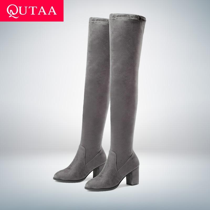 QUTAA/женские ботфорты выше колена; Женская обувь на высоком квадратном каблуке; Зимние универсальные пикантные женские ботинки на платформе;...