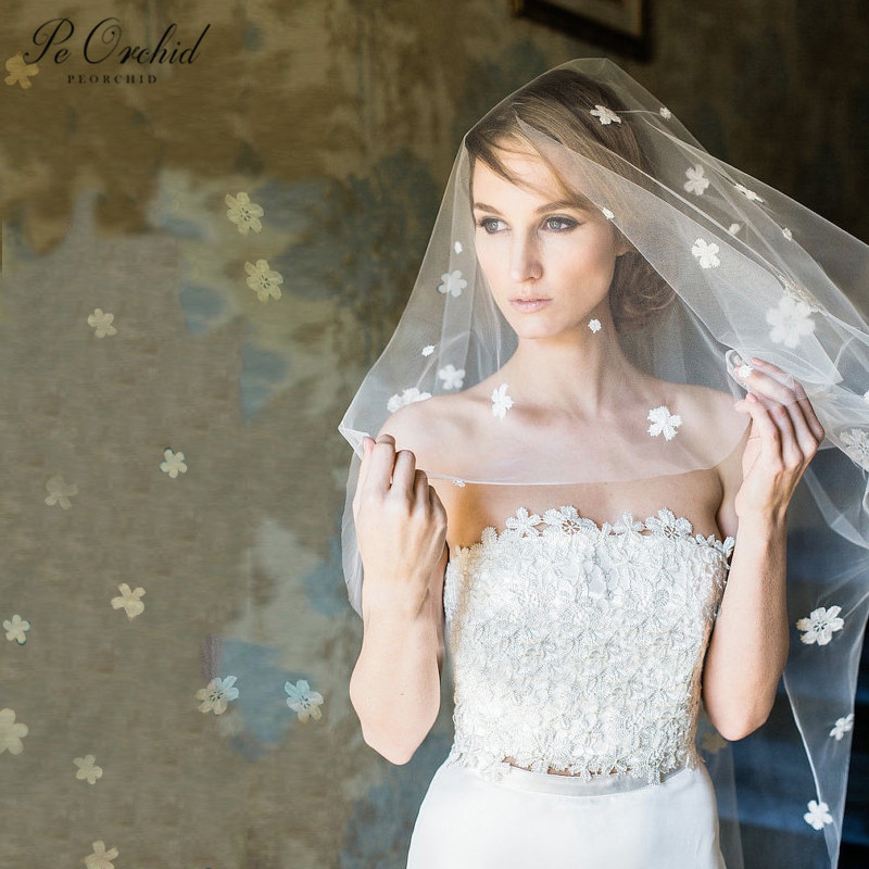 PEORCHID Ivory 3D Flowers Wedding Veil 2020 New Bridal Veil Short Soft Tulle Veil No Comb Voile Cathedrale Mariee