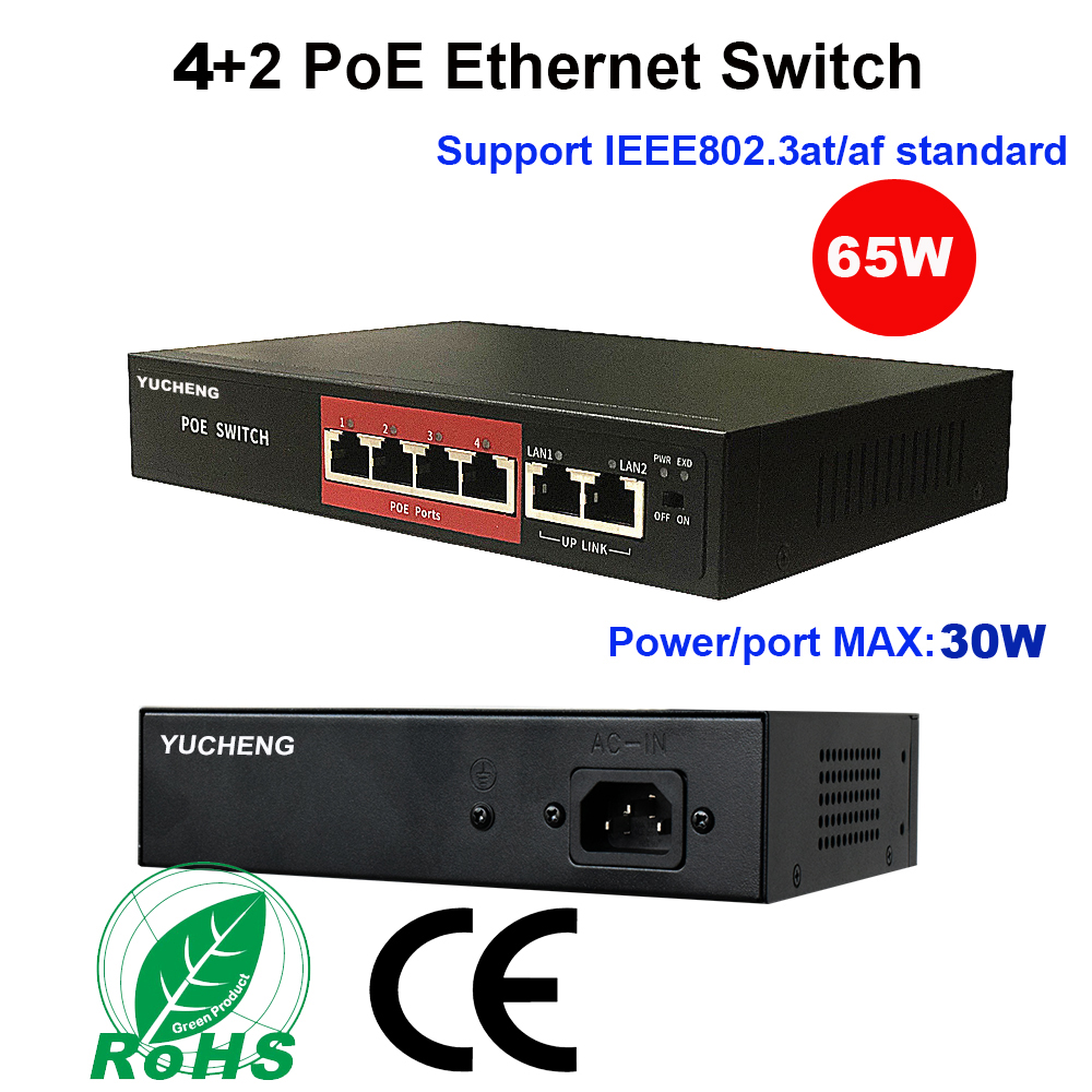 4+2 Ports 48V Power Over Ethernet Switch For IP Camera 1236 Power Supply 4CH POE Switch IEEE802.3af/at PoE Injector
