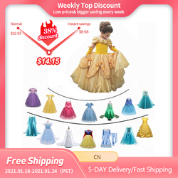 Fantasia menina princesa vestidos beleza belle cosplay traje neve natal halloween princesa fantasiar-se crianças roupas de festa