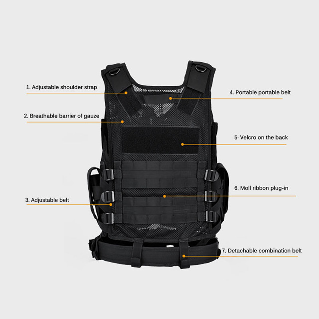 Multi-Pocket Hunting Clothes Swat Tactical Vest Swat Chest Rig SWAT Army Hunting Protective Vest Camping Shooting Accessories 4