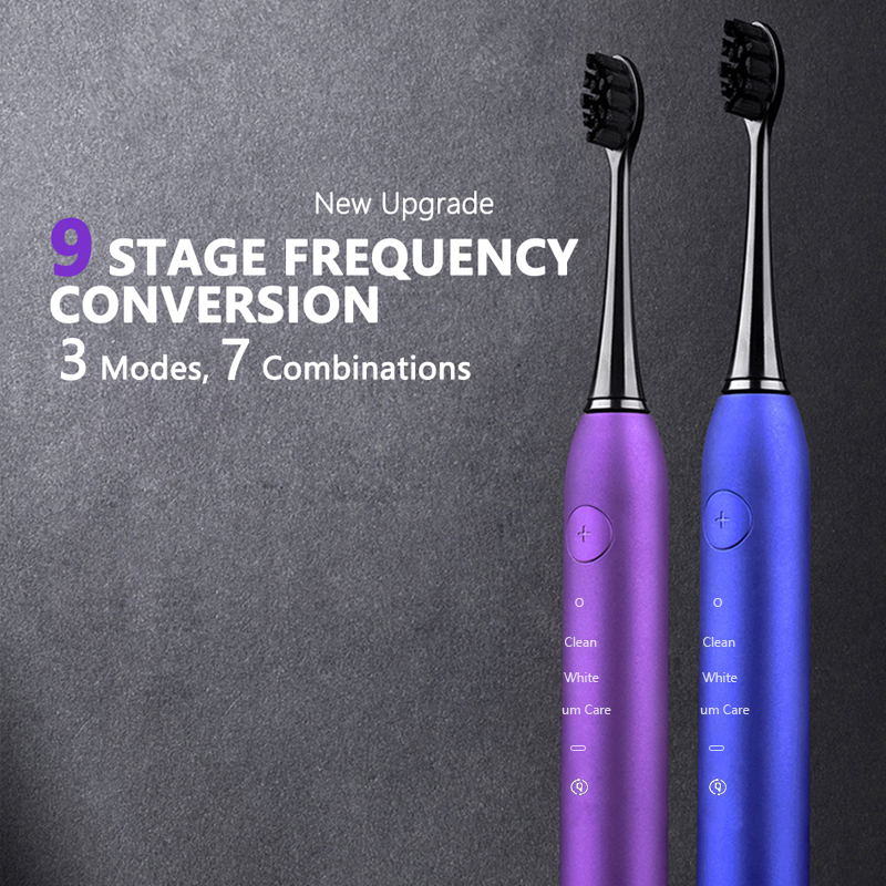 Sonic Wave Electric Tooth Brush Ultrasonic Power Toothbrush USB Rechargeable IPX7 Waterproof Toothbrush With 2 Soft Dupont Heads in Electric Toothbrushes from Home Appliances