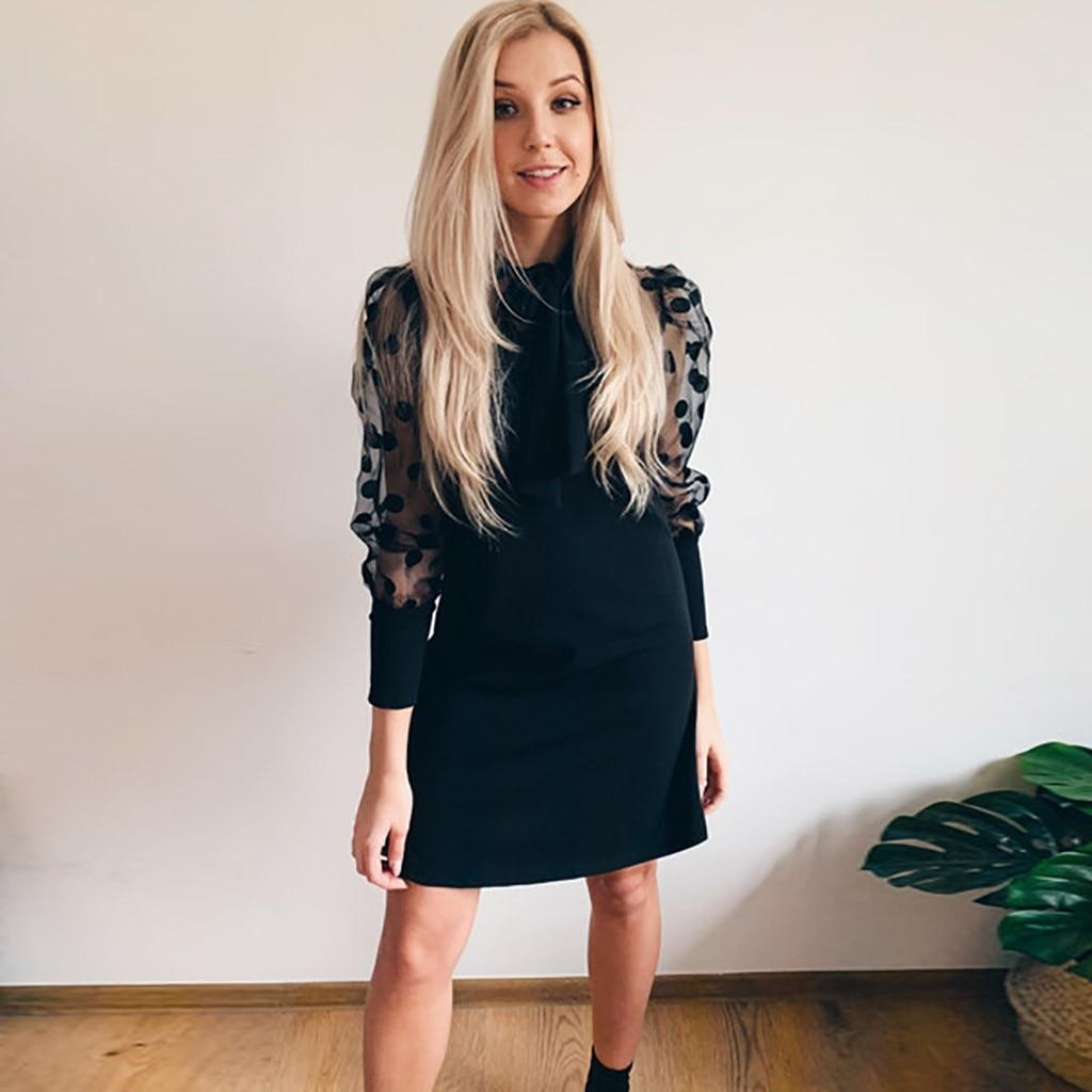 Woman Casual Party Club Mesh Lantern Sleeve Bodycon Dress Mini Black O Neck Polka Dot Thin Dress Autumn Winter Vestidos#J30