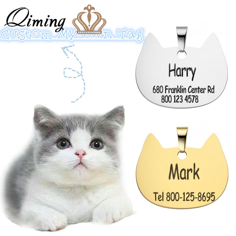 Custom Engraved Cat ID Card Tag For Animal Lover Stainless Steel Personalized Dog Collar Tags Pet Accessories Gift