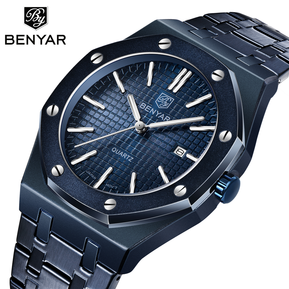 2020 New Luxury Brand Fashion Mens Quartz Watch Stainless Steel Luminous Waterproof Mens Sports Watch Relogio Masculino Watch