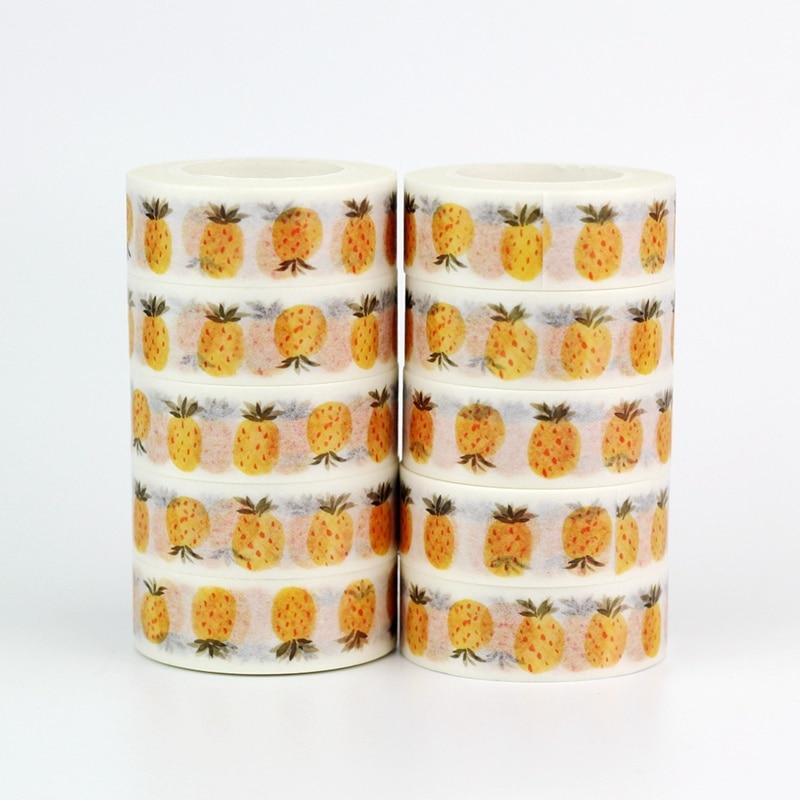 Wholesale 10pcs/lot Decorative Cute Pineapples Washi Tapes DIY Scrapbooking Planner Adhesive Masking Tapes Kawaii Stationery