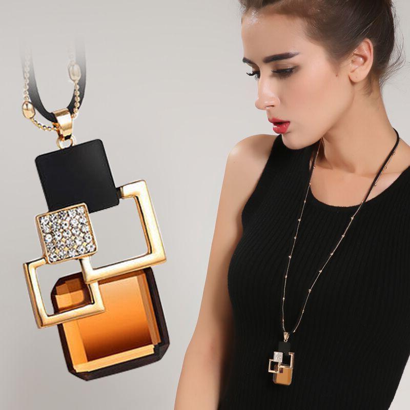 BYSPT Long Necklaces& Pendants for Women Collier Femme Geometric Statement Colar Maxi Fashion Crystal Jewelry Bijoux