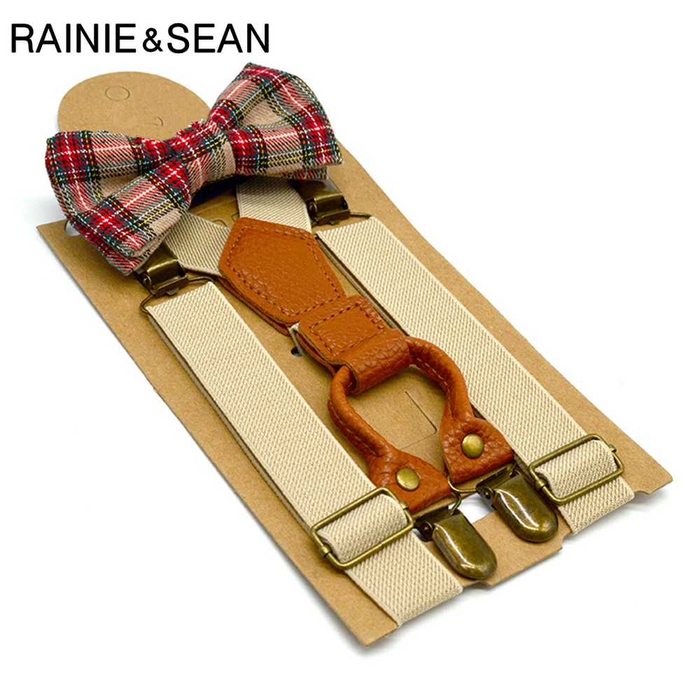 RAINIE SEAN Boys Suspenders Children Suspender Pants Leather Vintage Beige Red Wedding Unisex Kids Baby Braces Bow Tie Set