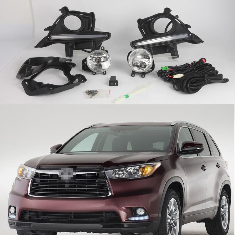 1 комплект дневный ходовой светильник DRL + Противотуманные фары для вождения + крышка ободка + жгуты проводки, наборы переключателей для Toyota