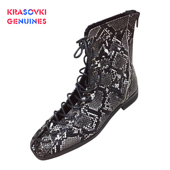 Krasovki Genuines Women Boots Fashion Snake Print Dropshipping Flat Bottom Ins Square Toe Slip Rome Rubber Leisure Women Boots