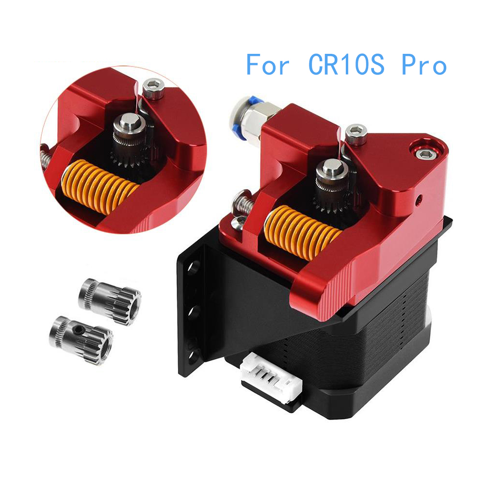 IsMyStore: Aluminum Upgrade Dual Gear Mk8 Extruder for Extruder Ender 3 CR10 CR-10S PRO RepRap 1.75mm 3D Parts Drive Feed double pulley
