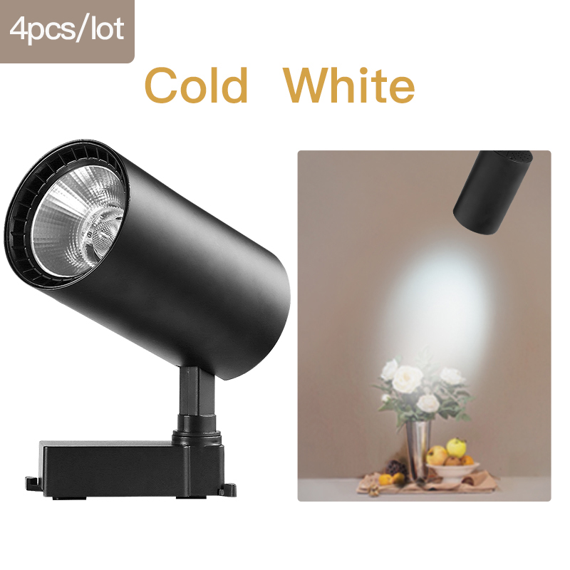 COB светодиодный Трековый светильник 220V 12/20 Вт, 30 Вт, 40 Вт регулируемый Точечный светильник Алюминий потолочный рельсы для Кухня магазин - Испускаемый цвет: Black-Cold White