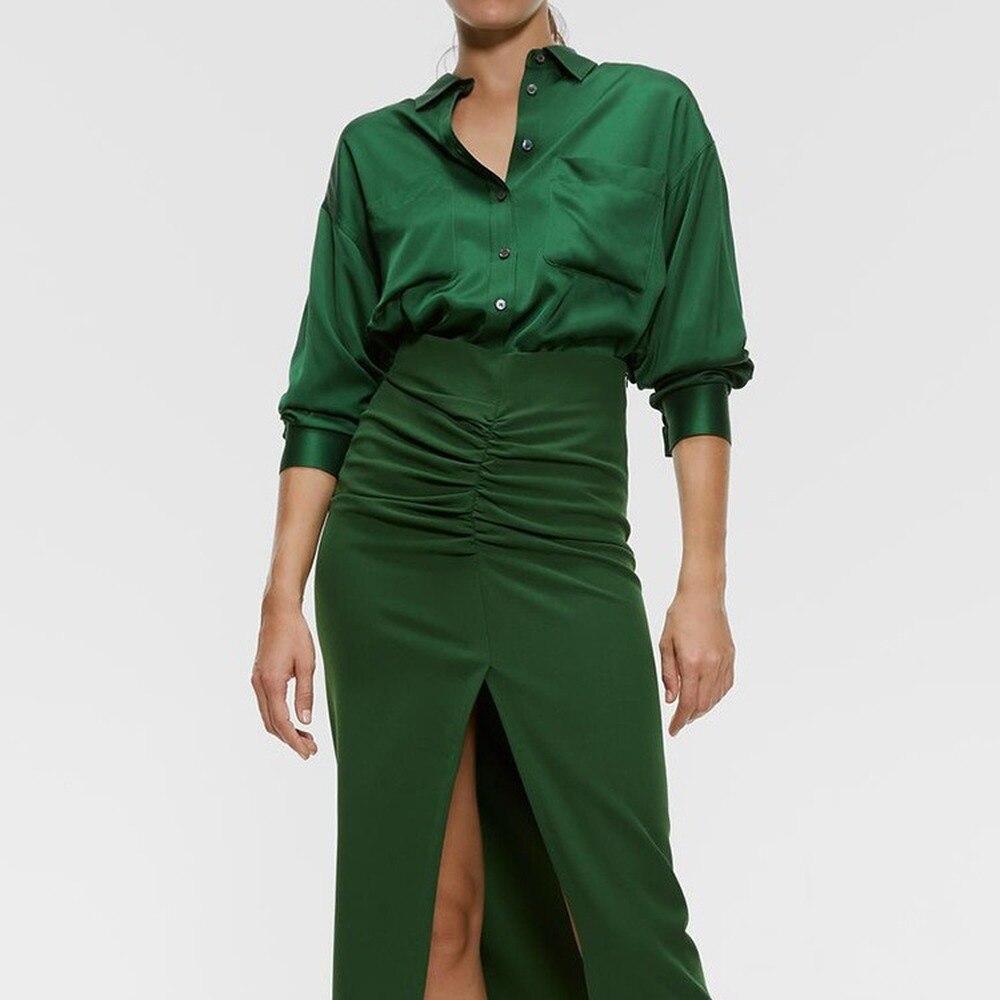 2020 Spring Summer Lapel Long Sleeve Draped Button Ways Wear Brief Personality Shirt Women Blouse Fashion Tide  Women