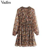 Vadim נשים רטרו שיפון פרחוני דפוס מיני שמלת V צוואר sashes שקוף ארוך שרוול נקבה מקרית שמלות QD155