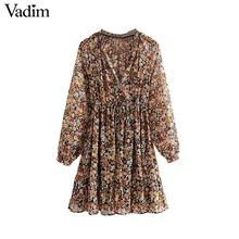 Vadim 여성 복고풍 쉬폰 플로랄 패턴 미니 드레스 v 목 나비 넥타이 투명 긴 소매 여성 캐주얼 드레스 qd155