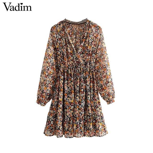 Vadim women retro chiffon floral pattern mini dress V neck bow tie sashes transparent long sleeve female casual dresses QD155