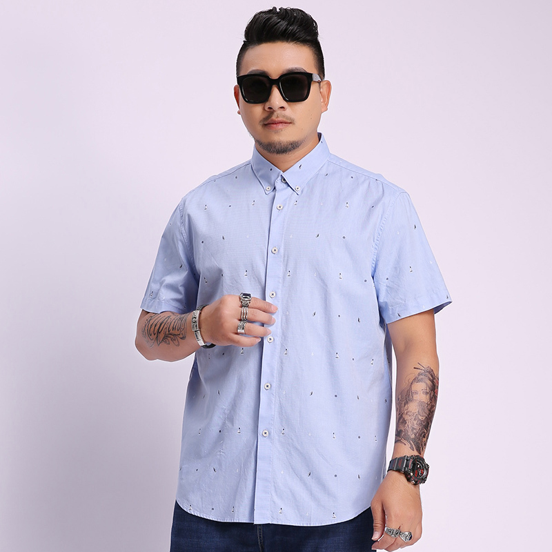 2020 Plus Size New Summer Short Sleeves Shirts Men Casual Fit Printing Shirts Men Large Size 5XL 6XL 7XL 8XL Business Casual