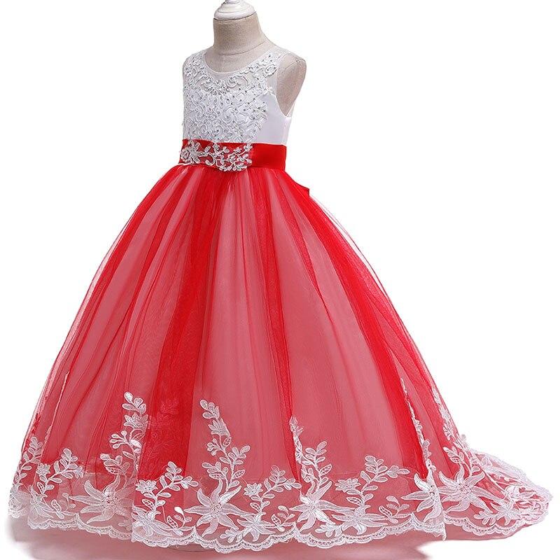 2019 Trailing Long Flower Dress For Wedding Birthday Girls Dress First Communion Princess Pageant Ball Gown Costume Vestido