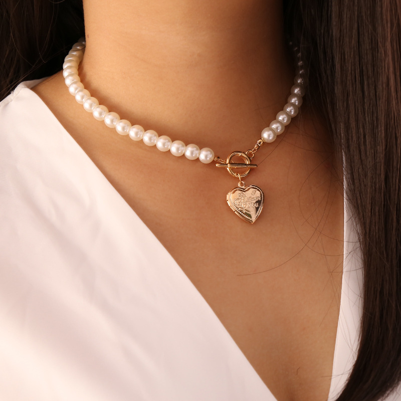Gold Color Heart locket Pendant Necklace for Women Imitation Pearls Choker Necklaces Female 2020 Fashion Jewelry New Arrival