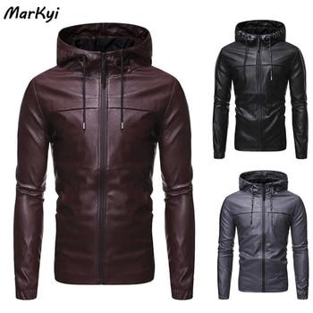 MarKyi 2020 Fashion Hooded Motorcycle Causal Vintage Leather Jacket Coat Men Slim Fit Bomber Leather Jackets men s pu leather jacket fashion fit biker motorcycle jacket bomber jackets and coat men m 4xl 4 zipper 2 prockets