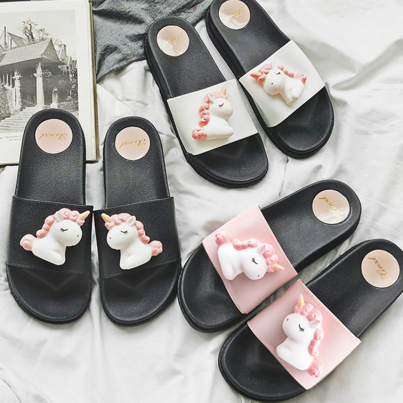 Realistic 3D Digital Print Unicorn Closed Toe Cotton Slippers Warm Soft Indoor Shoes Non-watertight