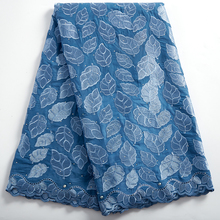 African Voile Lace Fabric High Quality Dry Lace Embroidery Swiss Dry Cotton In Switzerland Yard Materila With Stone 2390A