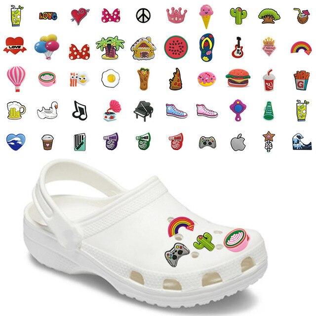 Breloques pour chaussures en PVC, accessoires de décoration, café, bière, Cactus, Cola, Cola arc en ciel Jibz pour enfants, cadeaux de x mas