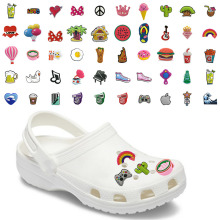 Mix100PC PVC Croc Shoe Charms Decorations Accessories Foods Coffee Beer Cactus Cola Rainbow Jibz For Croc Shoes Kids X mas Gifts