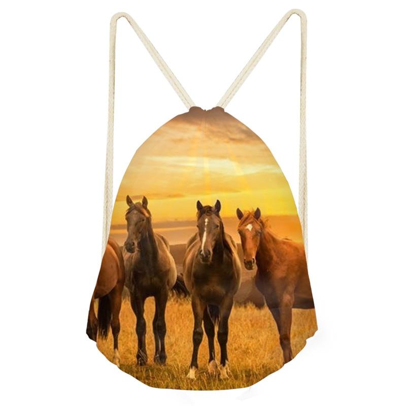Animal Running Horse Series Draw String Bag Travel Drawstring Pocket Bagpack Drawstring Backpack Horses Schoolbag Drop Shipping