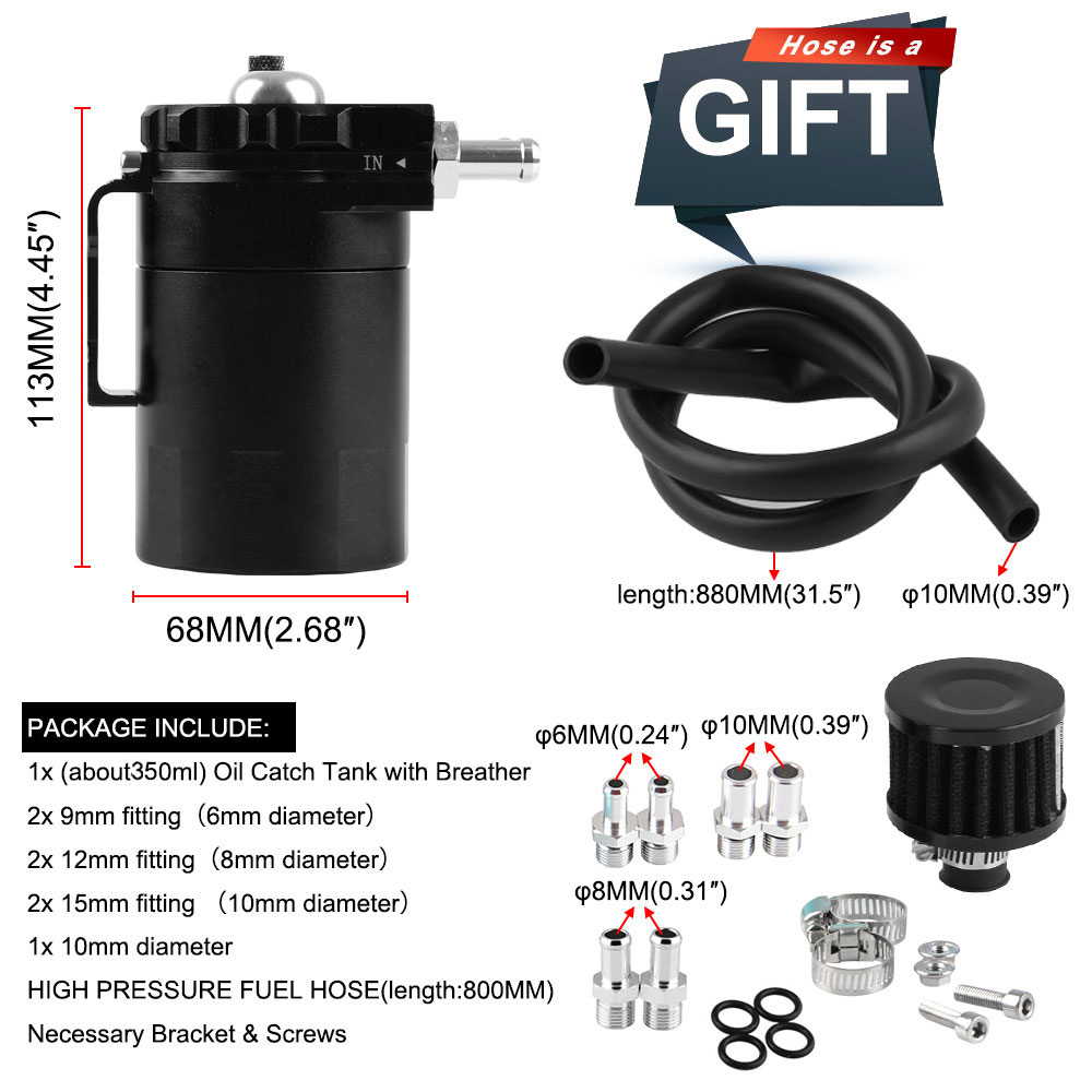 Image 3 - Baffled Aluminum Oil Catch Can Reservoir Tank / Oil Tank With Filter Universal OCC025-in Fuel Tanks from Automobiles & Motorcycles