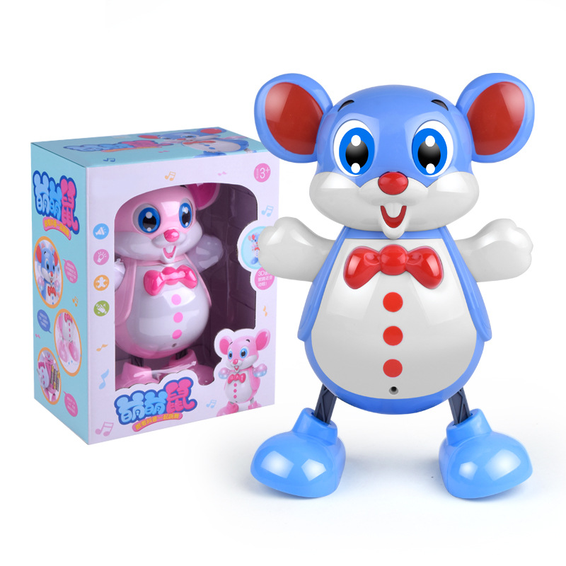 Original Dancing Mickey Mouse Figure Action Dazzling Music Shiny Educational Electronic Walking Robot Kids Lols Toy