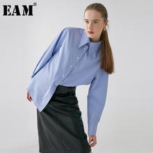 [EAM] kobiety niebieski krótki Temperament Big Size bluzka nowa z klapami z długim rękawem luźna koszula moda fala wiosna jesień 2020 1R078 tanie tanio COTTON Poliester REGULAR Skręcić w dół kołnierz NONE Pełna Na co dzień Jersey Stałe 1R07805S blue