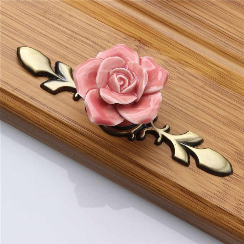 10 Vtg Porcelain Knobs Pulls Drawer Cabinet Door White Pink Rose Flower  M161