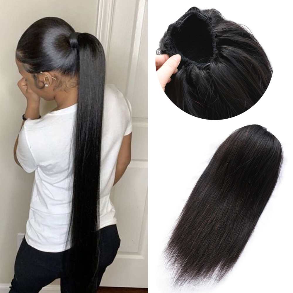 Straight Ponytail 100% Human Hair Drawstring Ponytail With Clips In Natural Hair Brazilian Non Remy Hair 1 Piece Extensions